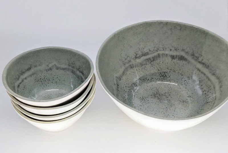 Kit 1 Bowl G Melamina 25cm com 4 Bowls P 15CM