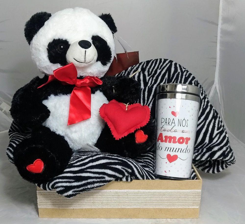 Kit Cobertor com Mangas Zebra com Urso Pelúcia Panda e Copo Amor