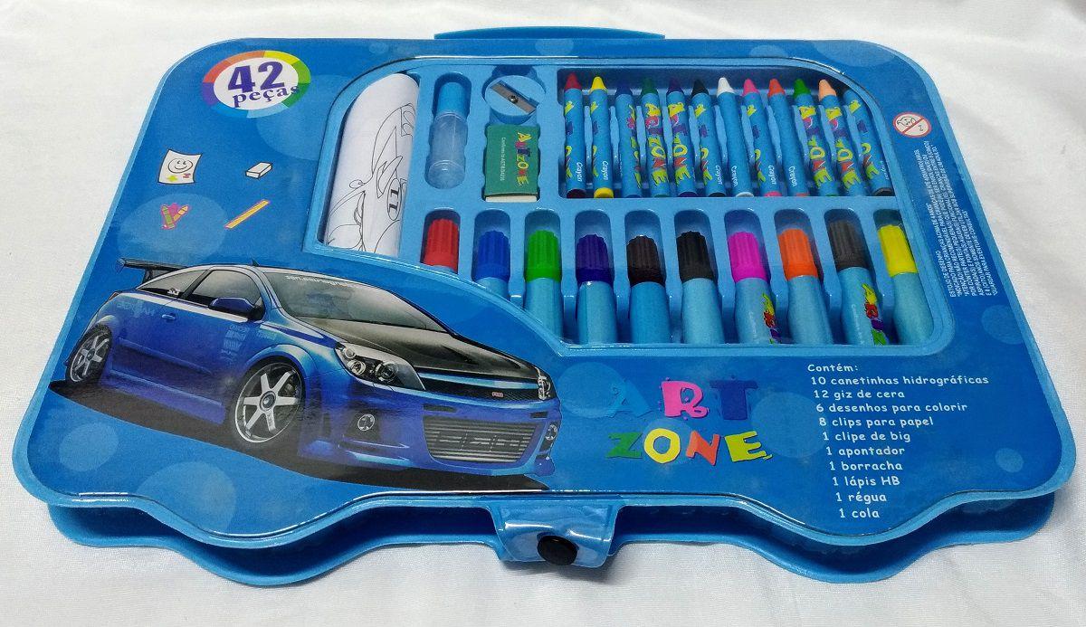 Kit Escolar 42 Peças Menino Azul