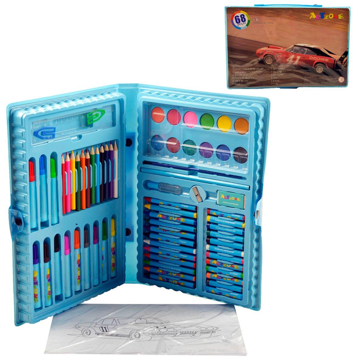 Kit Escolar 68 Peças Azul