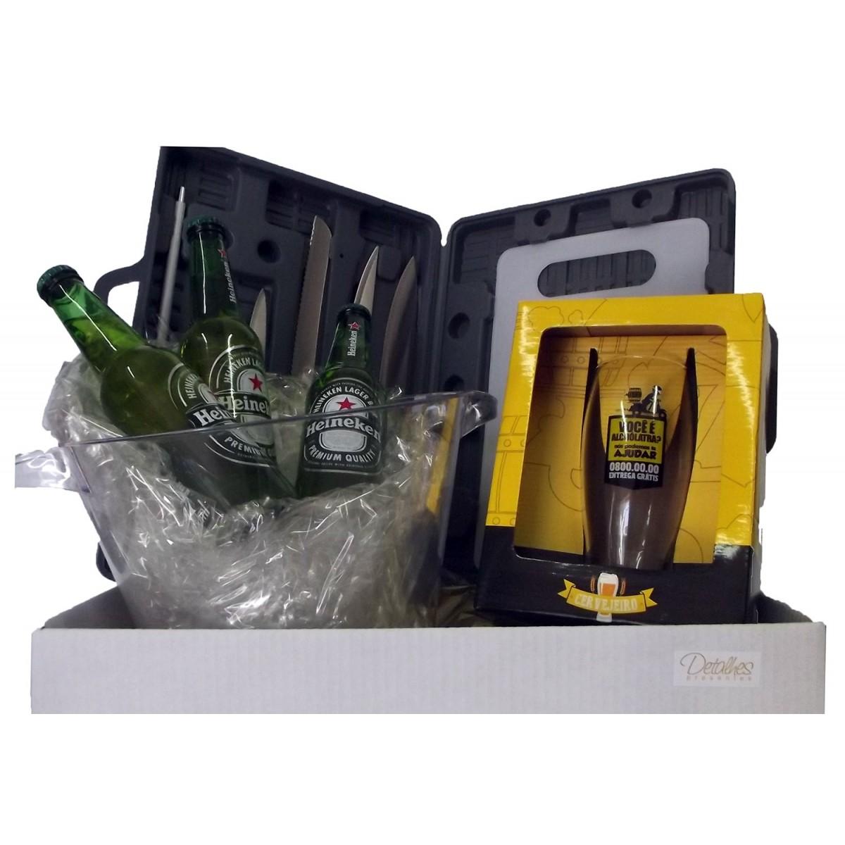 Kit Exclusivo com Taça, Balde de Cerveja e Maleta de Facas e Tabua