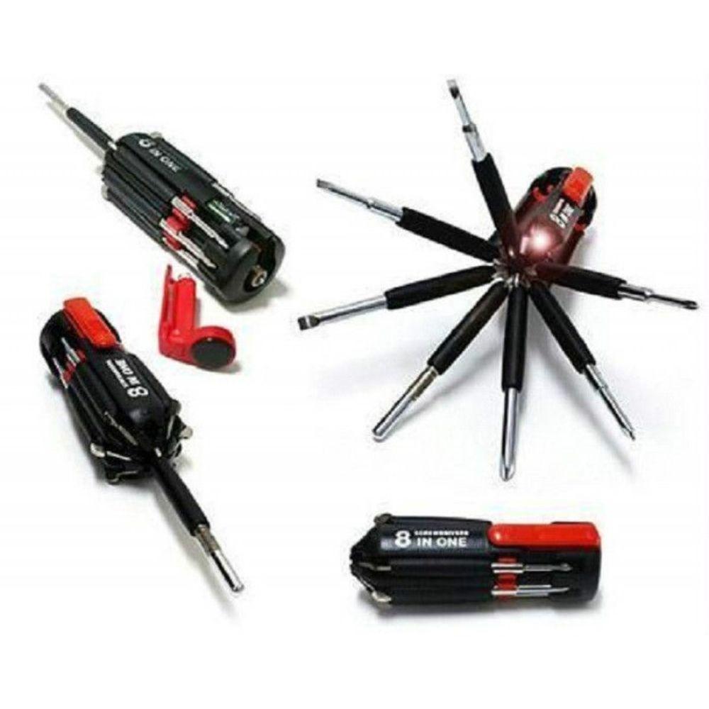 Kit Multi Chaves 8 Em 1 com Lanterna Led