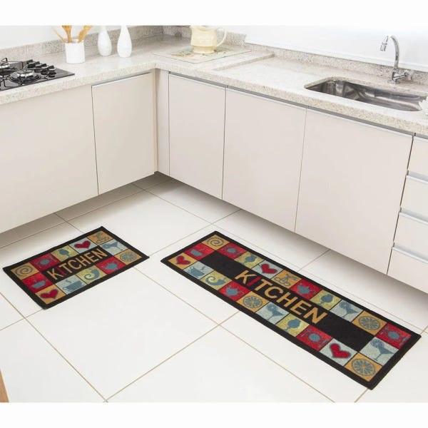 Kit Tapete de Cozinha 2 peças Kitchen Color Art Bistrô -  Corttex