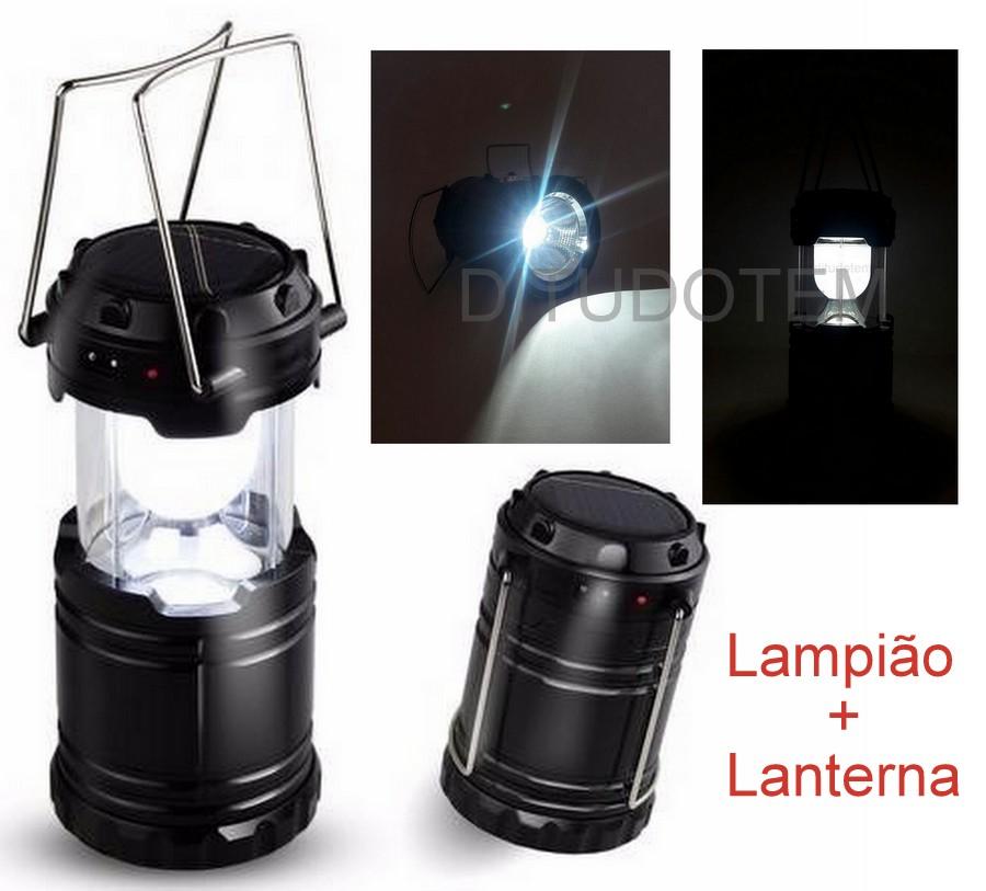 Lampião com Lanterna Luz Led Recarregável Bivolt