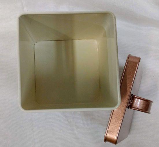 Lata de Açucar Quadrada de Metal c/ Tampa 11Xx11x14cm