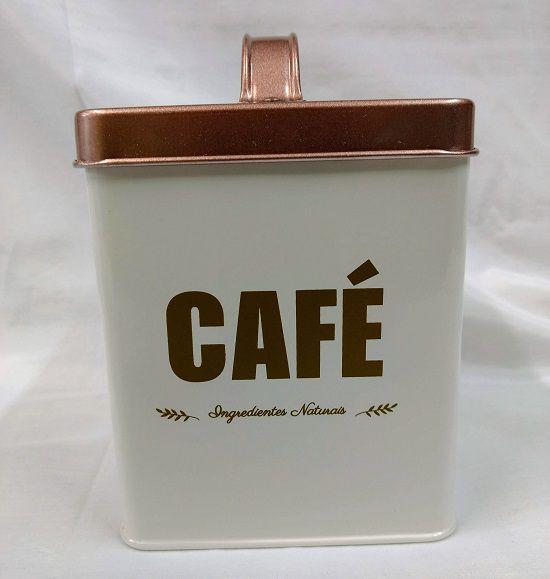 Lata de Café Quadrada de Metal c/ Tampa 11Xx11x14cm