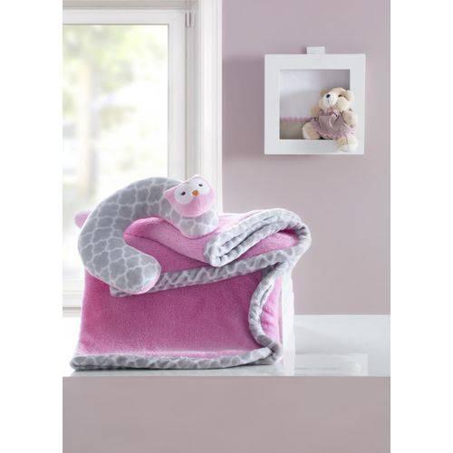 Manta Bebê com Almofada de Pescoço Coruja Rosa