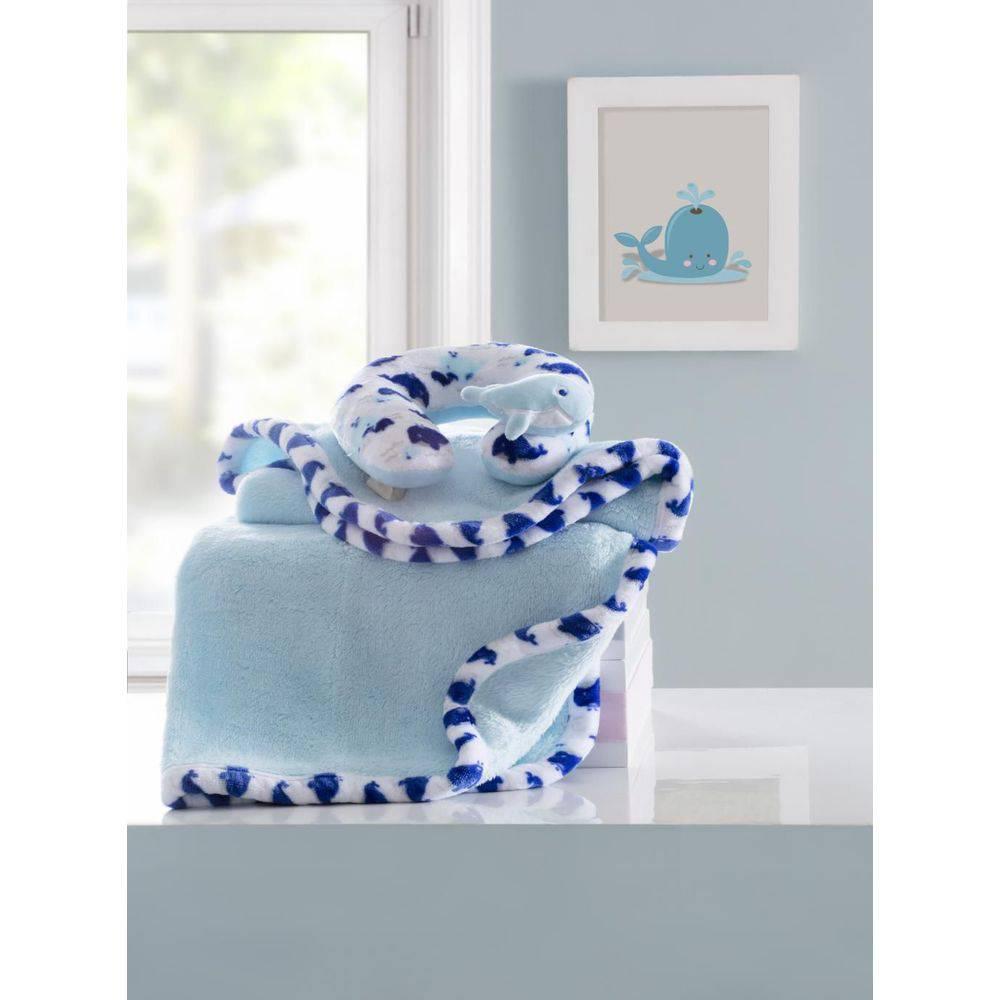 Manta Bebê com Almofada Pescoço Baleia Azul