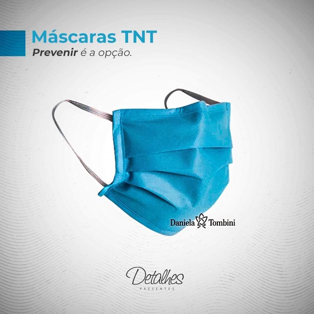 Máscara Descartável Antimicrobiana Azul em TNT com Elástico