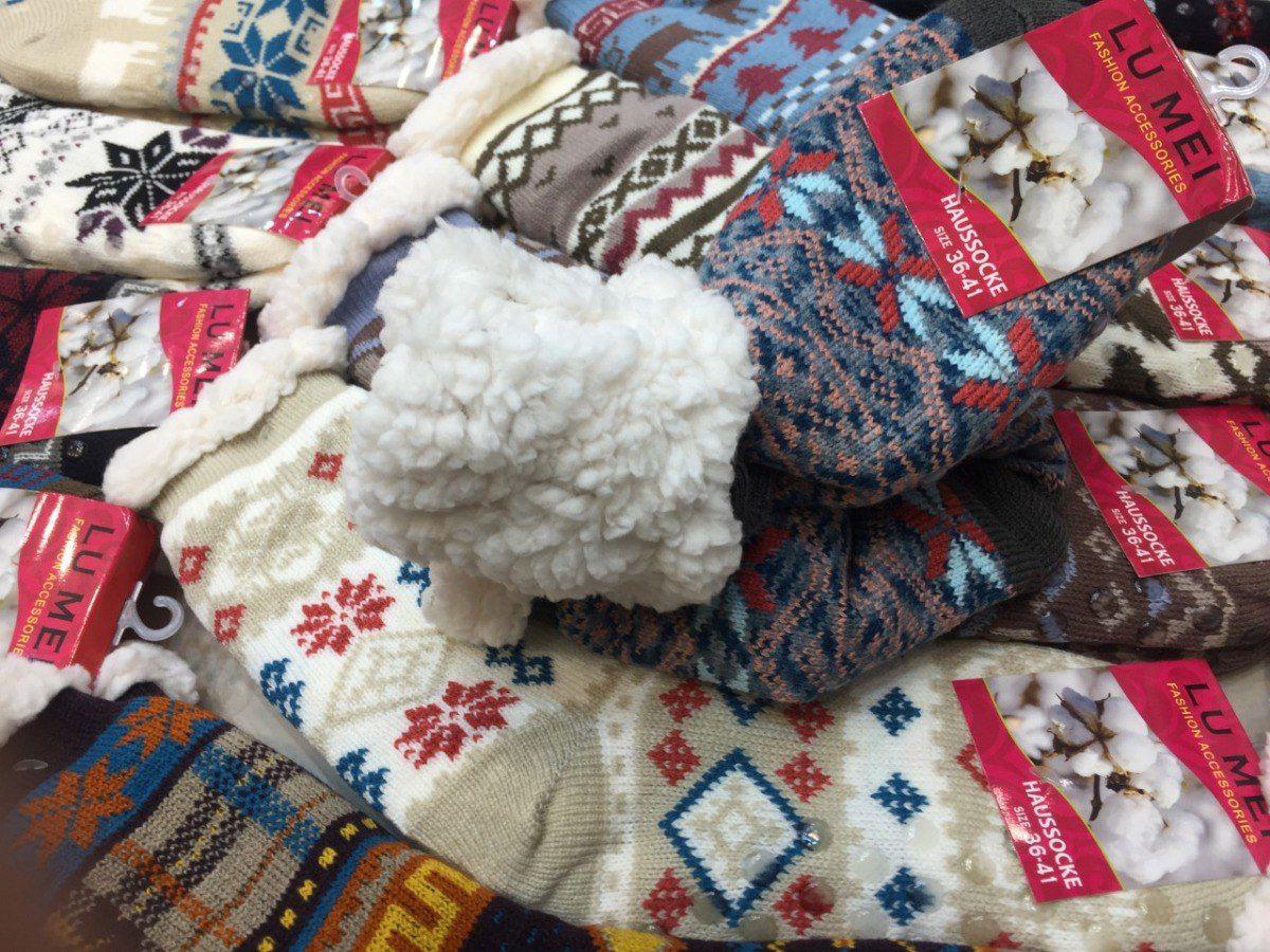 Meia de Lã por Dentro de Algodão e Solado Antiderrapante Super Quente