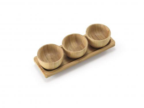 Petisqueira Bambu com 3 Bowls e 1 Suporte