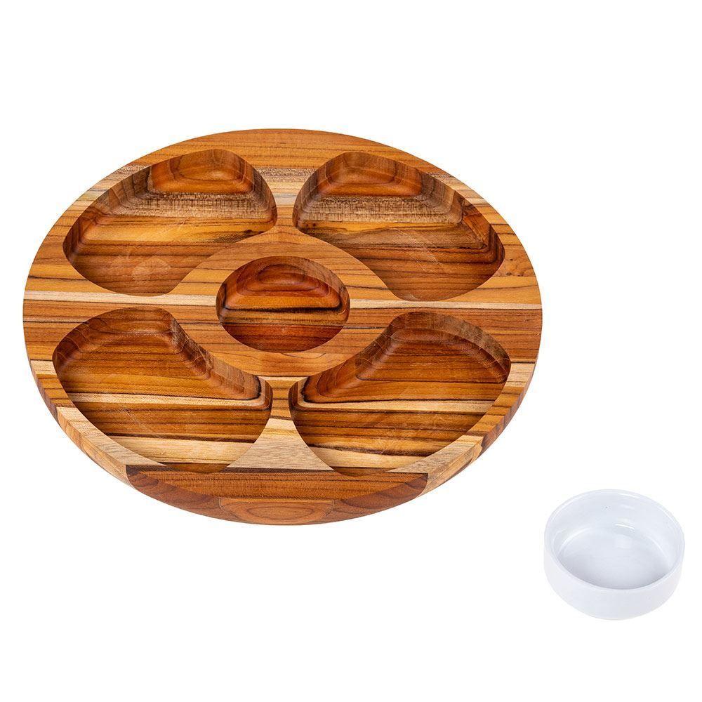 Petisqueira Teca Redonda com Porcelana  5 Divisões - Stolf