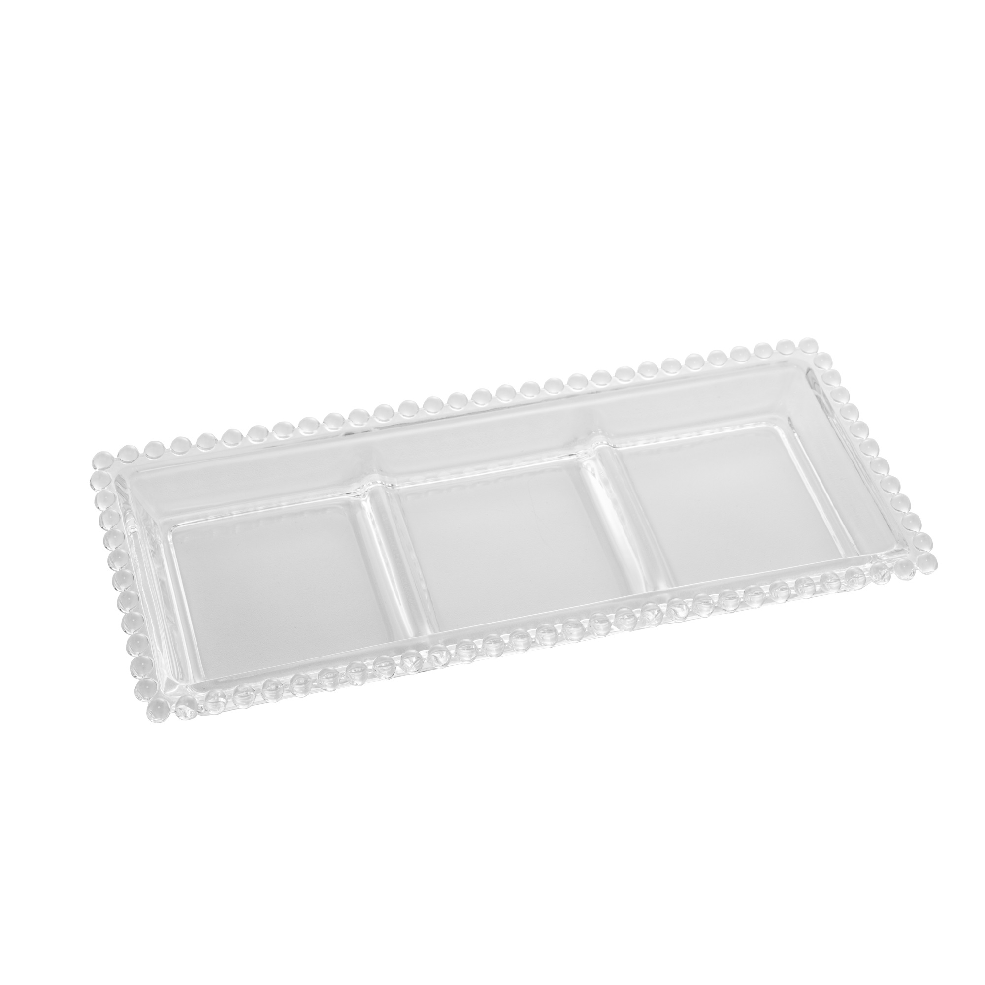 Petisqueira Vidro Pearl 3 Divisões 30Cm - Wolff