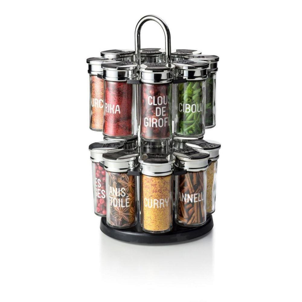 Porta Condimento Giratório com Suporte e 16 Potinhos de Vidro