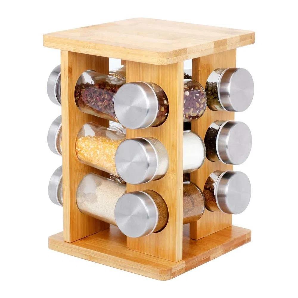 Porta Condimentos Em Bambu 12 Potes de Vidro com Base Giratória  - Livon