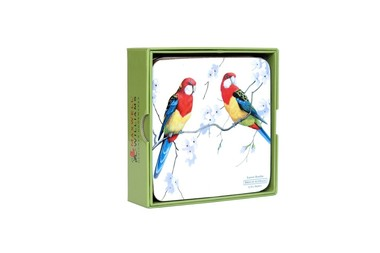 Porta Copos de Madeira Mdf Estampado Pássaros