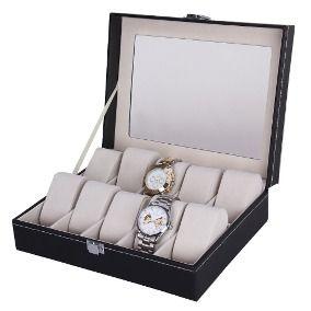 Porta Relógios e Joias com 10 Repartições Caixa Organizadora Aveludada