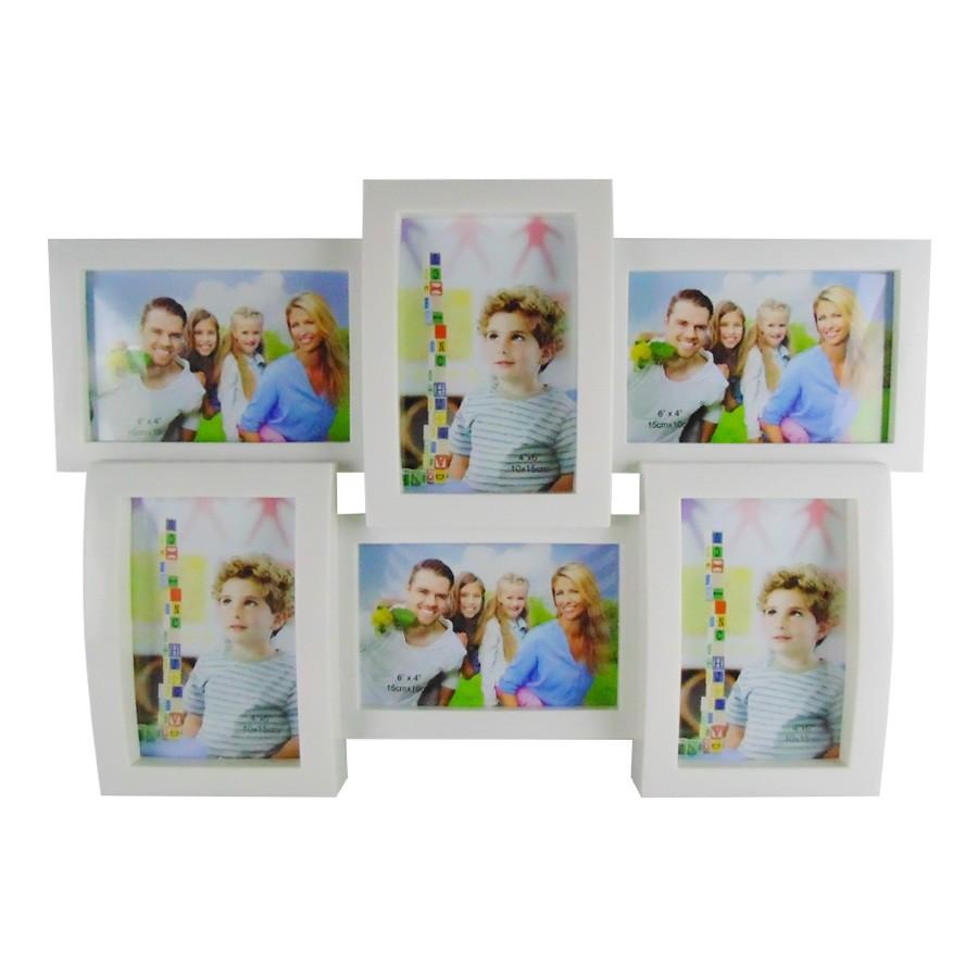 Porta Retrato para 6 fotos 15x10cm Plástico Branco