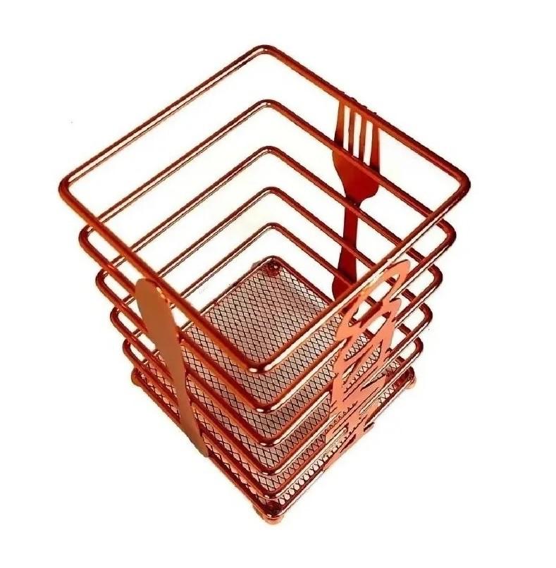 Porta Talheres Escorredor Aramado Cozinha Rose Gold