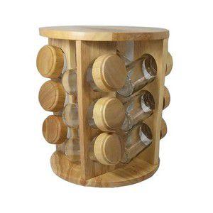 Porta Tempero com Detalhes em Bambu com 12 peças