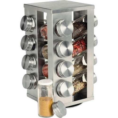 Porta Temperos Condimentos Giratório Inox com 16 peças