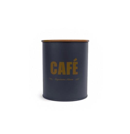 Pote Lata Café Cinza com Tampa Bambu 1,2L