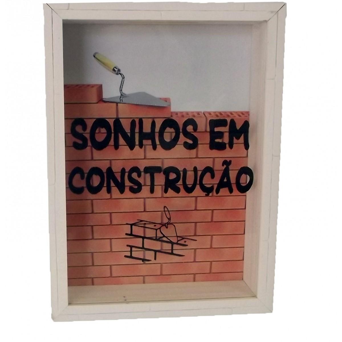 Quadro Cofre 21x15 Sonhos em Construção