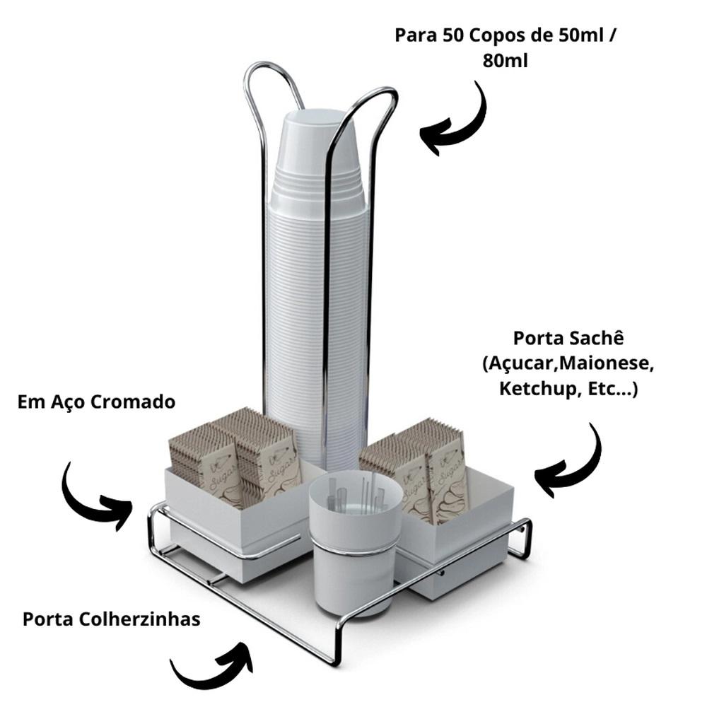 Suporte Porta Copos 50ml 80ml Porta Saches Açúcar Colheres Mexedor Organizador Branco