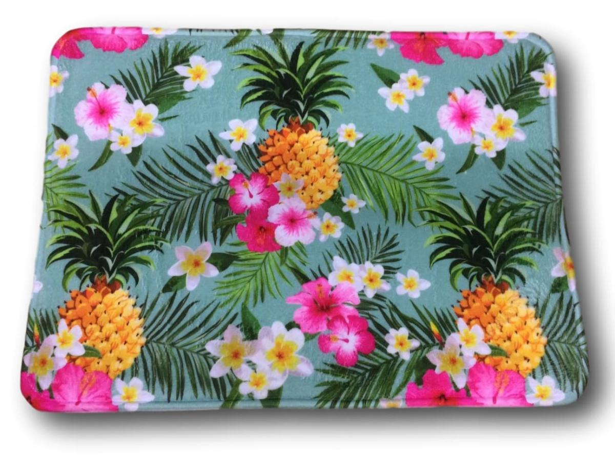 Tapete Antiderrapante Abacaxi com Flores 40x60cm