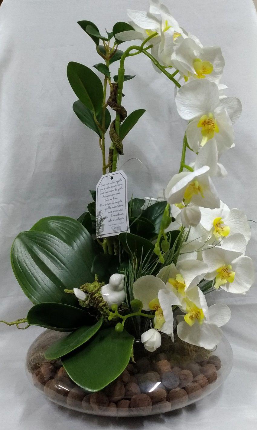 Terrário Redondo Transparente c/ 2 Orquídeas com Passarinho Branco
