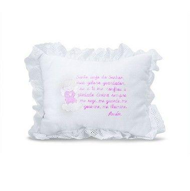Travesseiro Decorativo Oração Santo Anjo Infantil Rosa