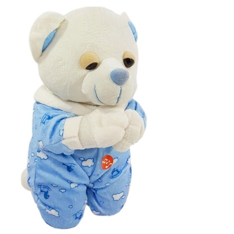 Urso de Pelúcia que Reza Pai Nosso 25cm Azul ou Rosa