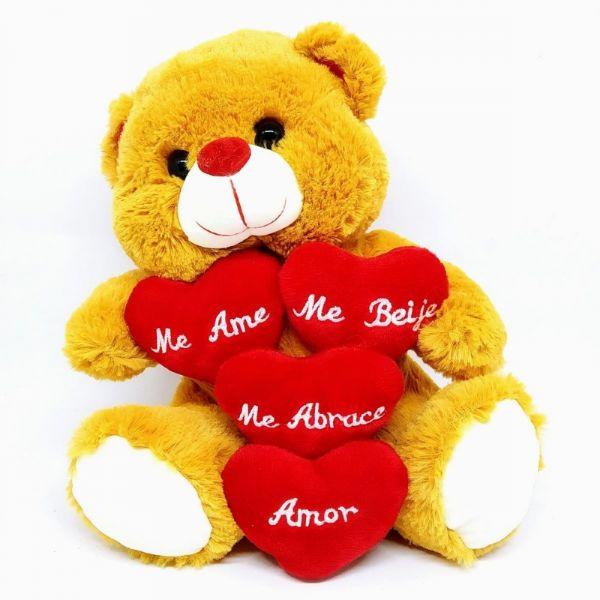 Urso Pelúcia 4 Corações 24cm - Fizzy