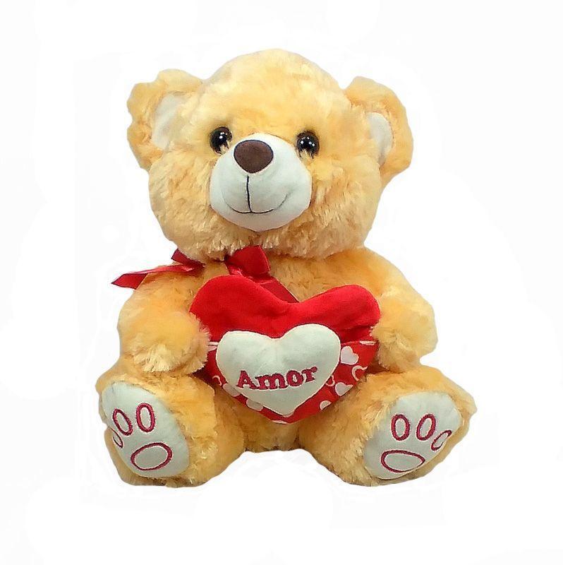 Urso Pelúcia Coração com Bolso 33cm - Fizzy