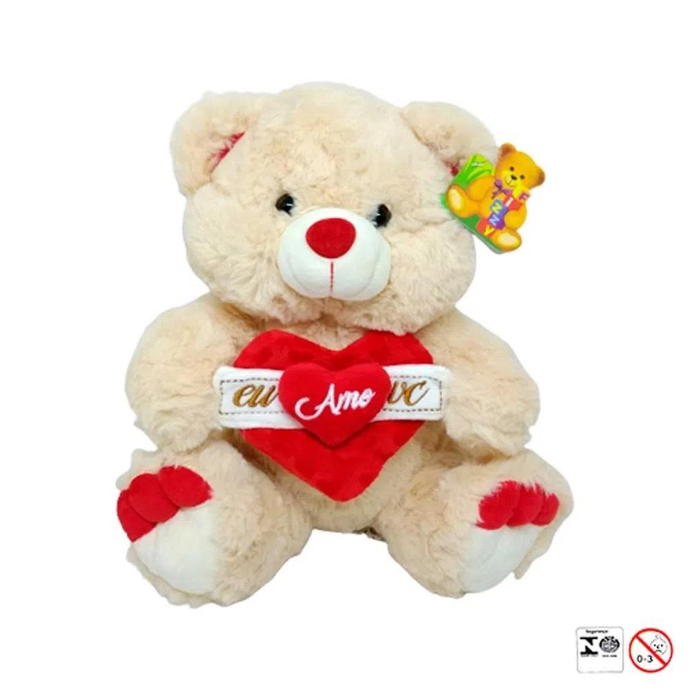 Urso Pelúcia Coração Eu amo Você 33cm - Fizzy