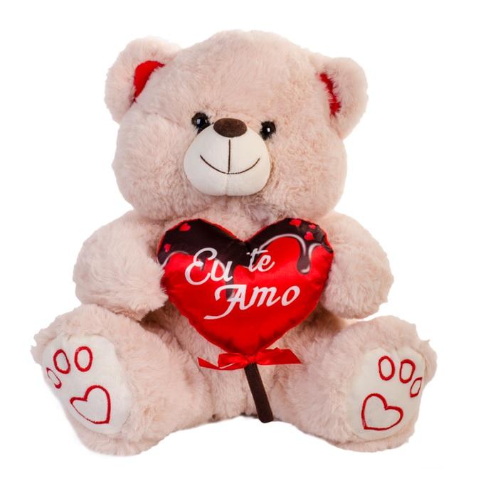 Urso Pelúcia Coração Pirulito Eu Te Amo 40cm - Fizzy