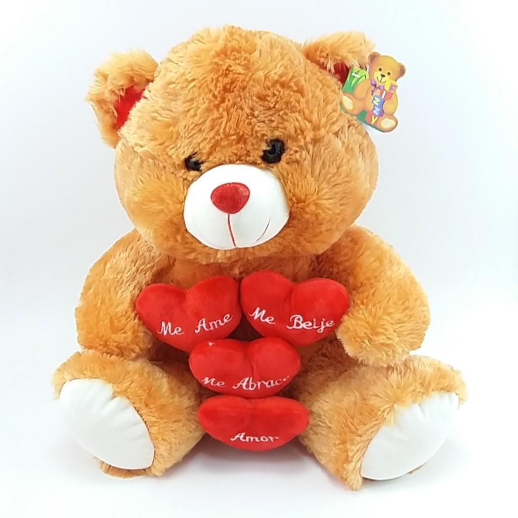 Urso Pelúcia Corações com Frases 40cm - Fizzy