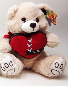 Urso Pelúcia Segurando Coração 29cm