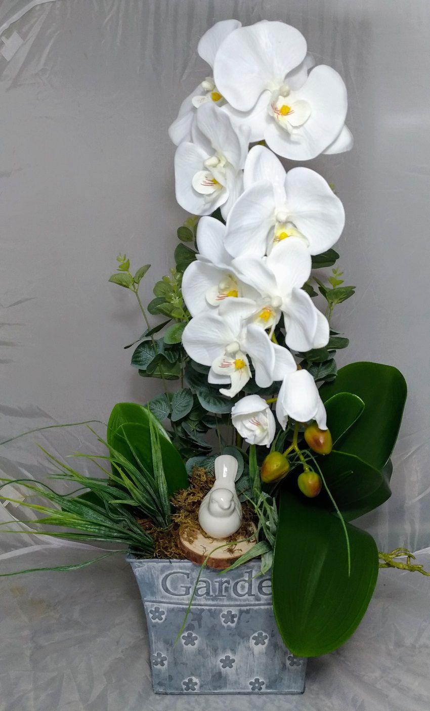 Vaso Cinza Garden c/ Orquídea Branca e Passarinho