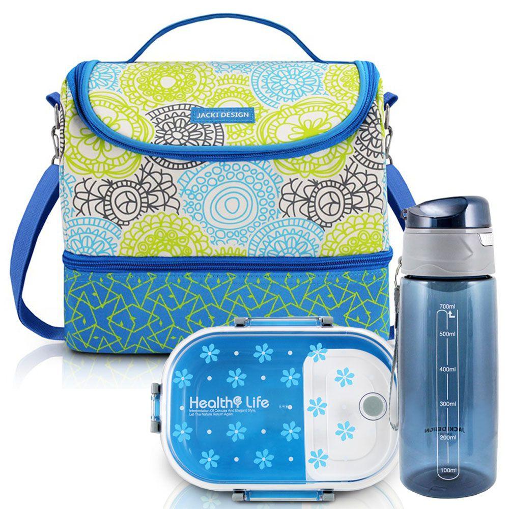 Bolsa Térmica com 2 Compartimentos + Marmita e Squeeze - Jacki Design