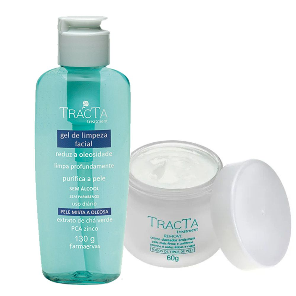 Clareador Antissinais + Gel de Limpeza Facial - Tracta
