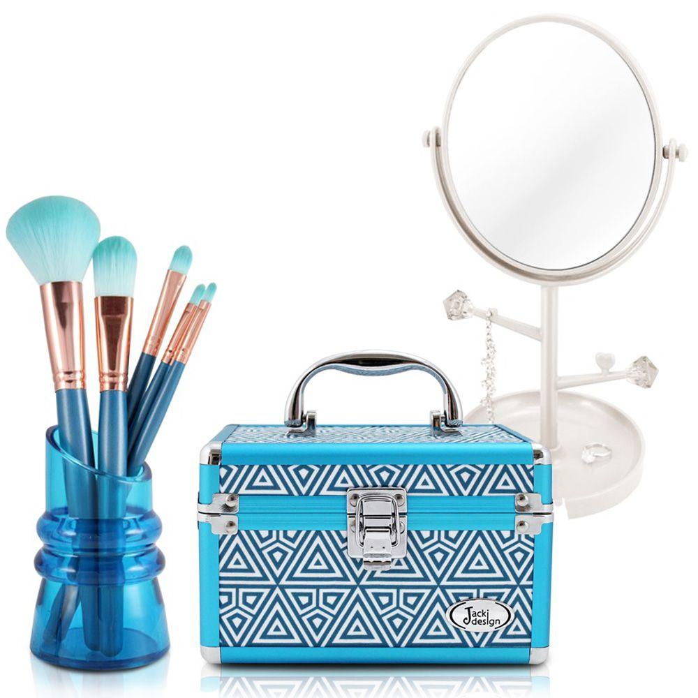 Espelho de Mesa + Maleta Multiuso + Kit com 5 Pinceis - Jacki Design