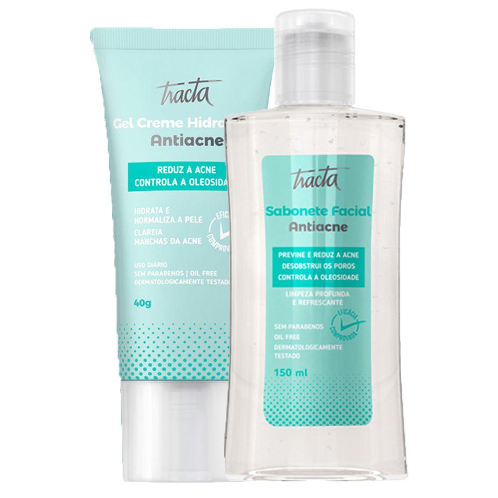 Gel Creme Hidratante Antiacne + Sabonete Facial Antiacne - Tracta