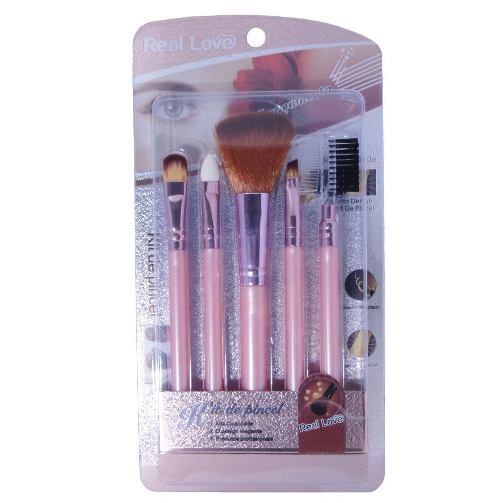 Kit com 5 Pinceis Para Maquiagem - Real Love
