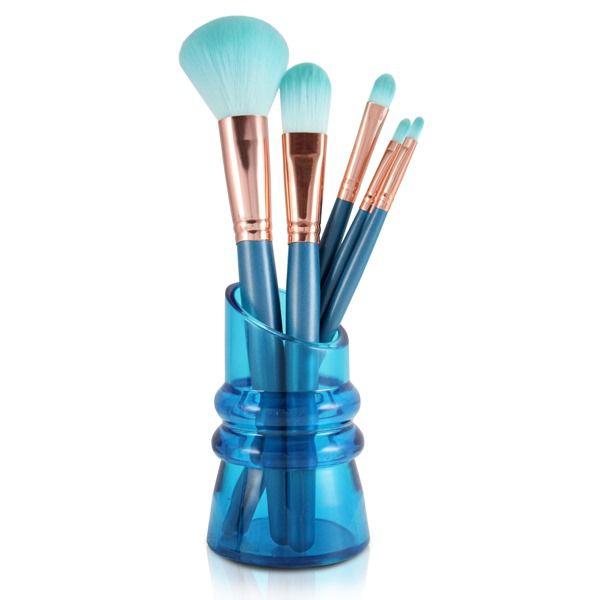 Kit de 5 Pincéis para Maquiagem com Suporte - Jacki Design