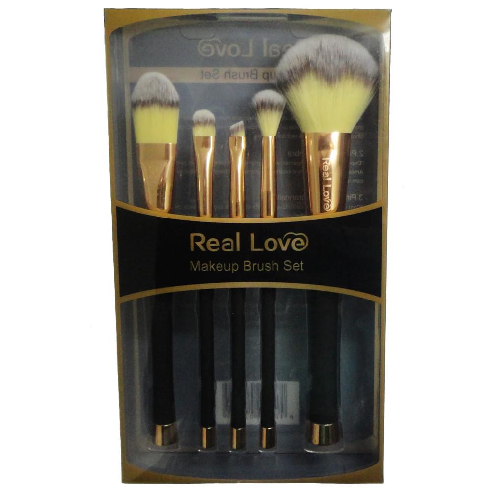 Kit de Pincéis Para Maquiagem Profissionais 5 Peças - Real Love