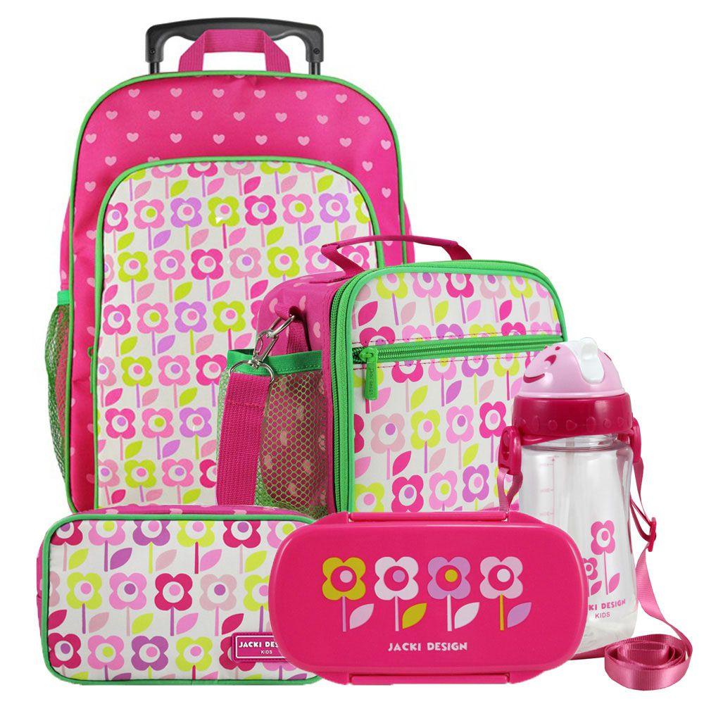 Kit Escolar Infantil Feminino Mochila + Lancheira +  Marmita + Estojo + Squeeze Jacki Design