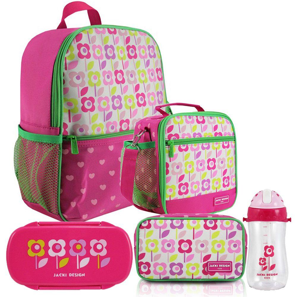 Kit Escolar Infantil Feminino Pink Mochila + Lancheira +  Marmita + Estojo + Squeeze - Jacki Design