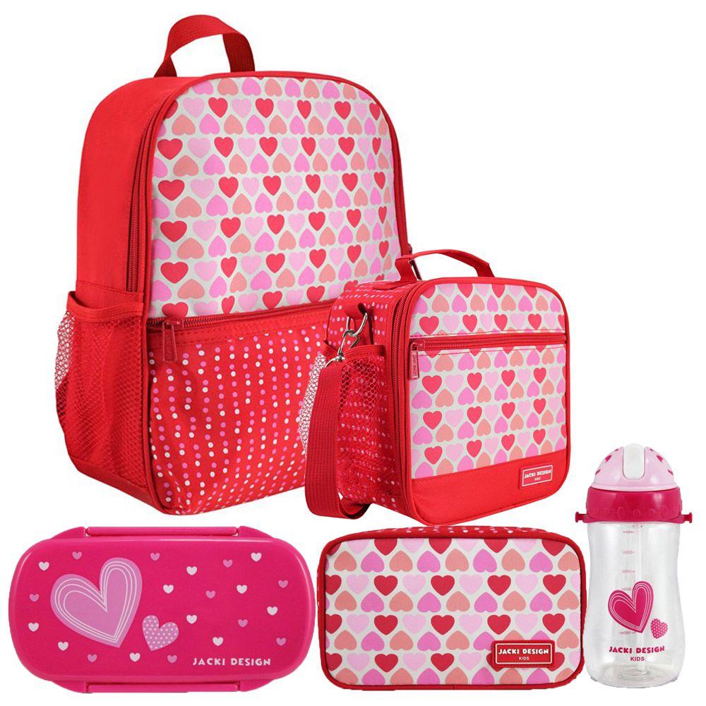Kit Escolar Infantil Feminino Vermelho Mochila + Lancheira +  Marmita + Estojo + Squeeze - Jacki Design