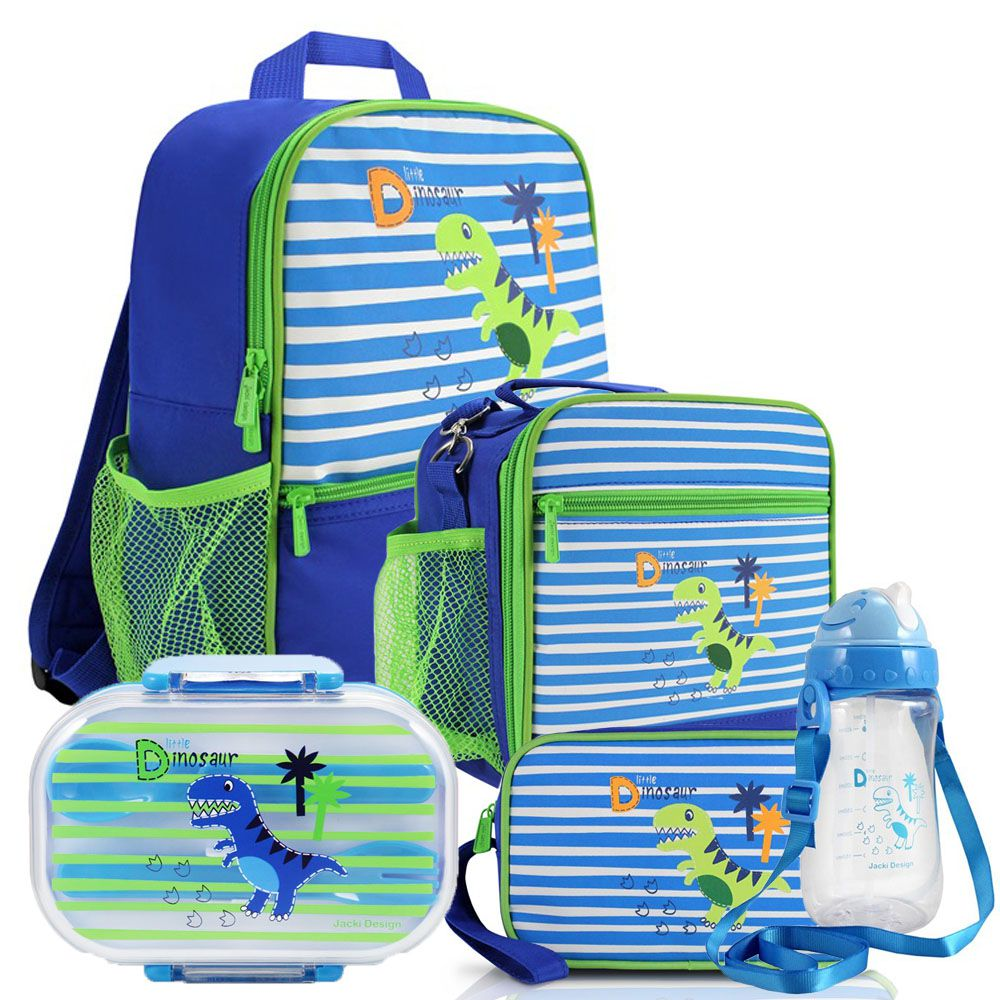 Kit Escolar Infantil Masculino Mochila + Lancheira +  Marmita + Estojo + Squeeze - Jacki Design